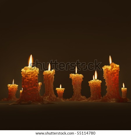 Burning c�andles on the black background