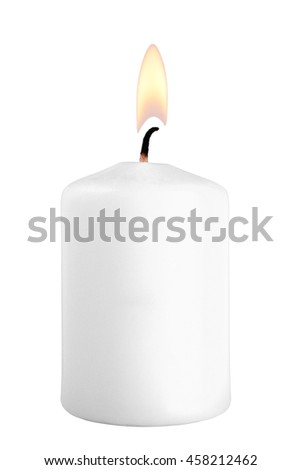 Burning candle isolated on white background