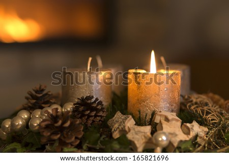 Advent Wreath Lighted Candle Placed On Stock Photo
