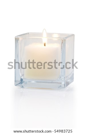 burning candle side view 20 degree, on white background - stock photo
