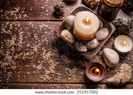 Burning candles for aromatherapy session, top view - stock photo