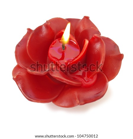 Burning candles for Valentine's Day, weddings,events involving love. isolated on white - stock photo