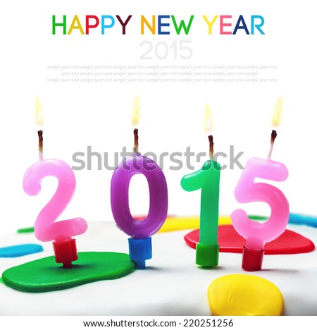 burning candles with the symbol of the new year 2015 on a white background - stock photo