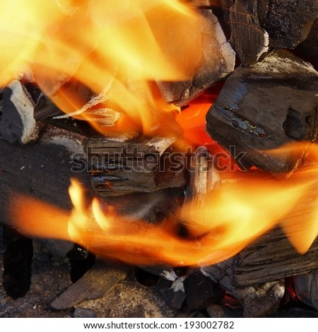 Burning Charcoal and Bright Flame in BBQ. You can see more BBQ food, BBQ Tools, Flaming Grill, Burning&Glowing Coal in my image gallery and public sets.  - stock photo
