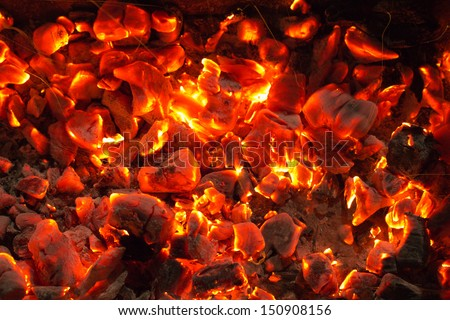 burning charcoal in the background - stock photo