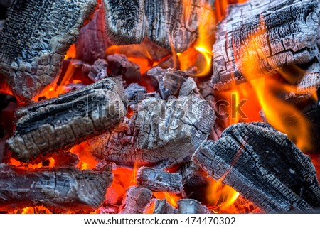 Burning charcoal with hot flame