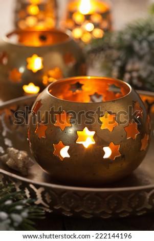 burning christmas lanterns and decoration - stock photo