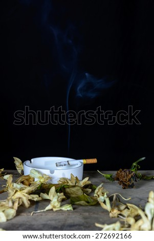 Burning cigarette with smoke in ashtray on wood table over black background - stock photo