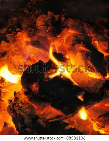 Burning coal in the furnace