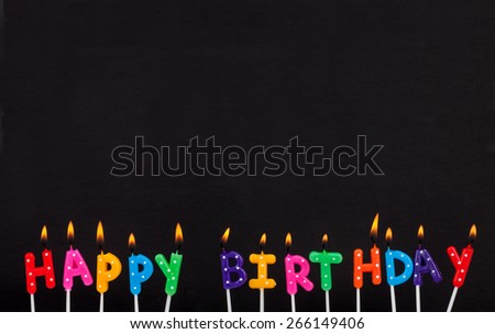 burning colorful happy birthday candles - stock photo