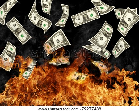 Burning dollars banknotes - stock photo