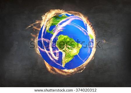 Burning Earth as a symbol of apocalypse - stock photo