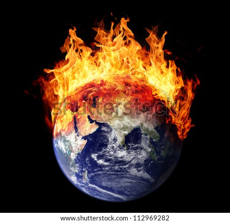 Burning earth globe east hemisphere (without gloving) (elements furnished by NASA) - stock photo