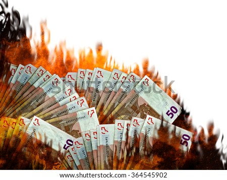 Burning Euro money, currency in flames. Stock market or investment collapse. Concept. White background. Financial slump or spending. - stock photo