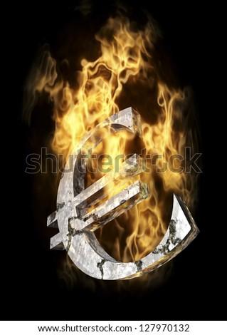 Burning Euro Sign - stock photo