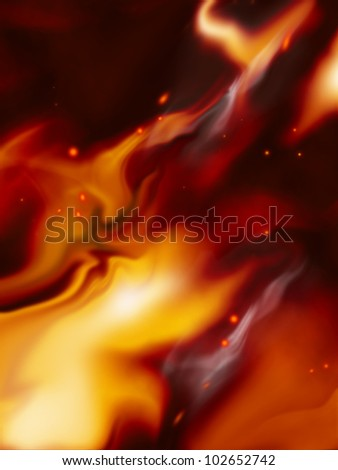 burning fire background with sparks against the dark - stock photo