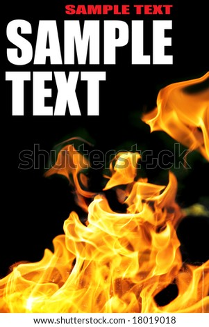 Burning fire close-up with space for your own text - stock photo
