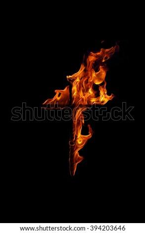 Burning fire cross - stock photo