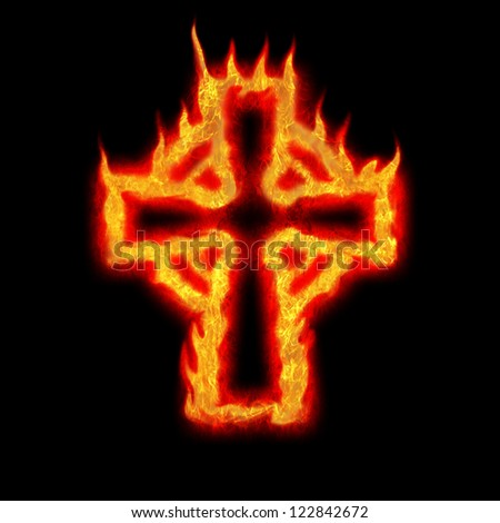 burning fire flame celtic cross abstract illustration on black - stock photo