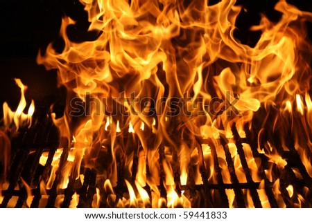 Burning fire or flames or a barbecue