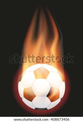 Burning Football Soccer ball with a tail of flame - stock photo