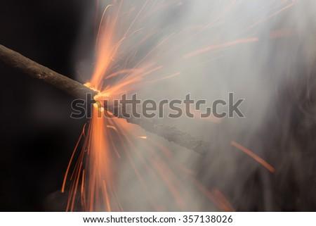 Burning Fuse closeup  - stock photo