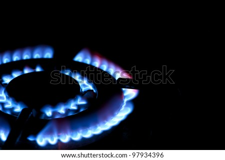 Burning gas on the kitchen gas stove - stock photo