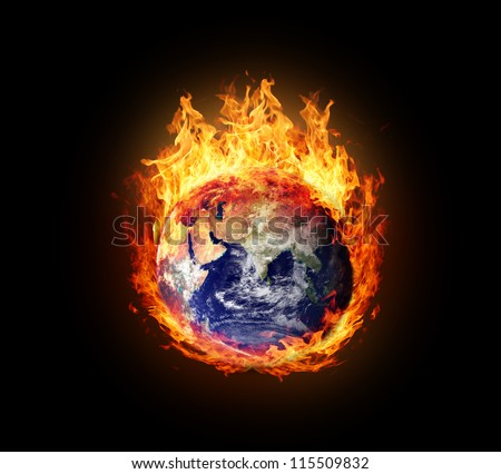 Burning globe earth (east hemisphere) - version with glowing (elements furnished by NASA) - stock photo