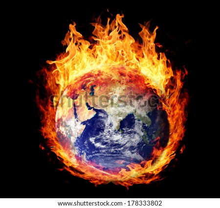 Burning globe earth (east hemisphere) - version without glowing (elements furnished by NASA) - stock photo