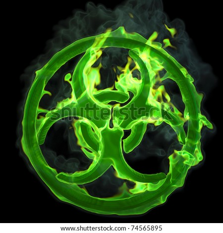 burning green fire sign of a biological hazard. isolated on black. - stock photo