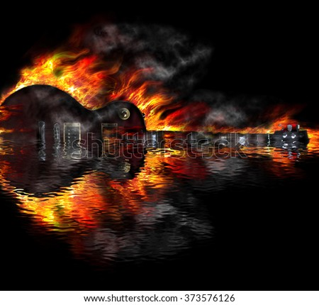Burning guitar in the water reflection