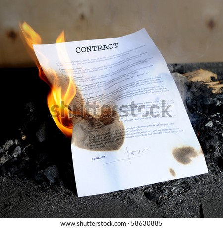 Burning in the fire contract - stock photo
