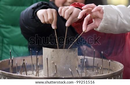 Burning incense, Nara, Japan - stock photo