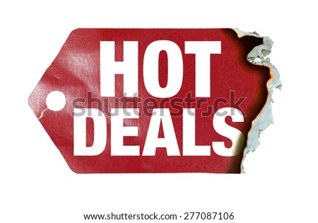 "Burning label with text ""hot deals"" - stock photo"