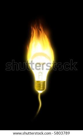 burning lamp against the black background - stock photo
