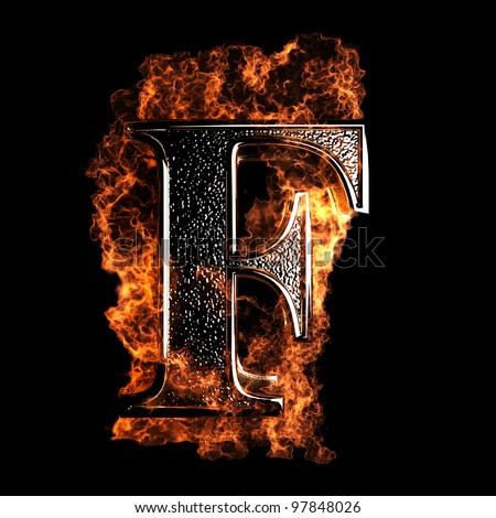 burning Letter made in 3D graphics - stock photo