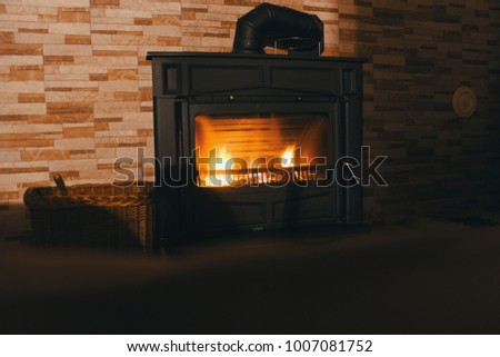 Burning logs in a fireplace,log fire in open fireplace