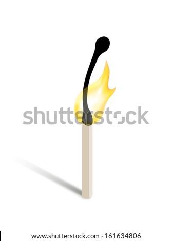 burning match - stock photo
