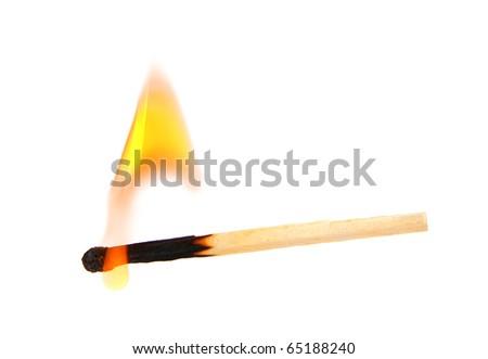 Burning match isolated on white - stock photo