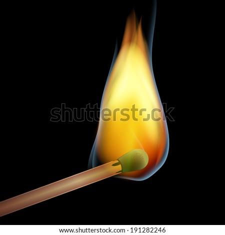 burning match over dark background - stock photo