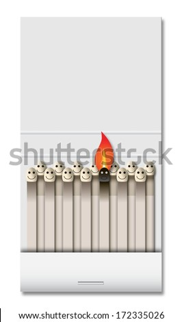 Burning matchbook - stock photo