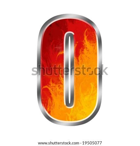 Burning numbers alphabet 0 zero - stock photo