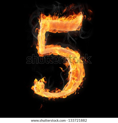 Burning numbers on black background - number five - stock photo