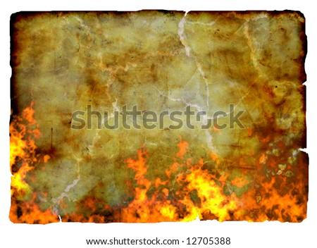 Burning old paper background, isolated - stock photo