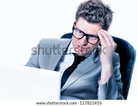 burning out of manager at the office - stock photo