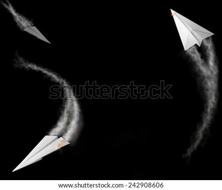 burning paper airplane  - stock photo