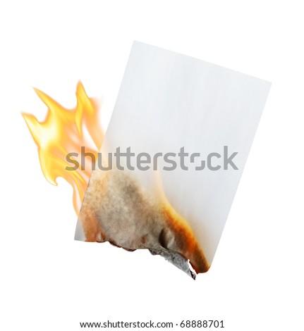 burning paper on white background - stock photo