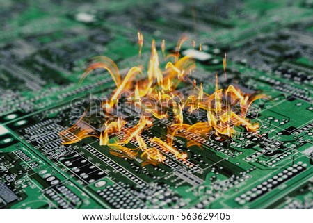 Burning PCB Printable Circuit Board Computer Stock Illustration ...
