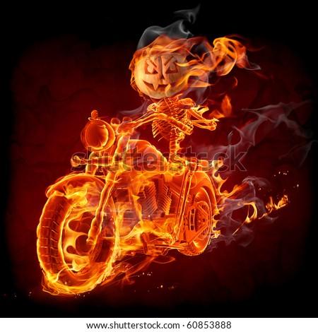 Burning skeleton riding a motorcycle   VAR.GE