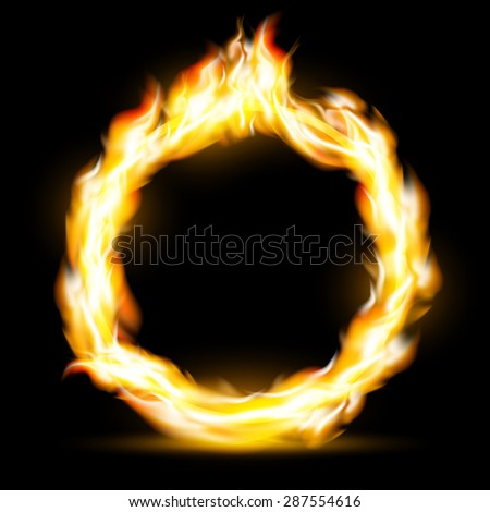 Burning ring. Texture fire isolated on a black background. Stock image